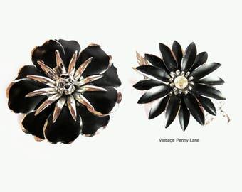 Flower Power Brooches, Vintage Japan Black Metal / Rhinestone Pins