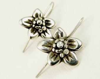 Southwestern Sterling Flower Pierced Earrings Signed