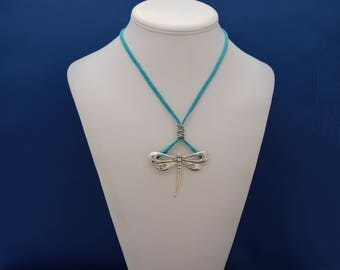 Large Silver Dragonfly on Turquoise Leather, Dragonfly Necklace, Sterling Silver Dragonfly Necklace, Dragonfly Pendant, Insect Jewelry