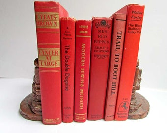 Vintage Book  Set, Turkey Red Vintage Books, Book Stack, Old Red Books, Library Accent, Decor Book Set, Table Centerpiece,  Time Faded Books