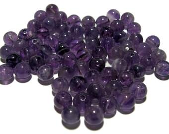 6mm Smooth Round Amethyst Beads 68pcs