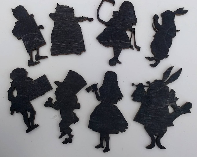 8 x Alice in Wonderland Wooden Brooches - Alice, Mad Hatter, White Rabbit, Queen of Hearts, Royal Page, Frog Footman (Set 5)