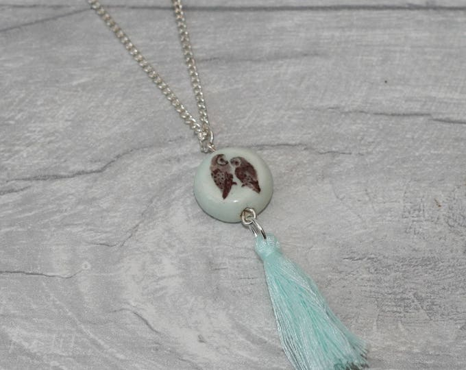 Bird Necklace with Tassel, Nature Jewellery, Woodland Necklace