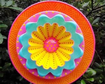 "TROPICAL SUNSET Hand Painted Glass Garden Plate  Flower Yard Art Sculpture  9"" diameter"
