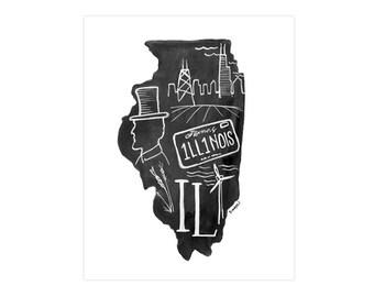 Illinois State Print // 1canoe2 // Modern Art Print