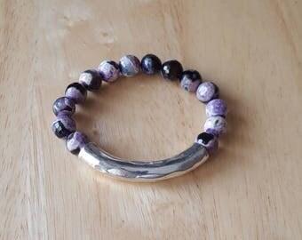 Beaded bracelet for women, boho jewelry, silver bar bracelet, stacking bracelet, mothers day gift mom gifts, birthday gifts for teen girls