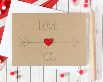 Love You. Anniversary Card. Engagement Card. Wedding Card. Handmade card. Valentines. Anniversary.  Arrow. Heart. Valentines Day Card. Love