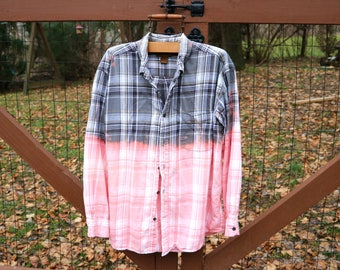 Vintage Flannel, Upcycle Flannel, Grunge Flannel, Distressed Flannel, Vintage Shirt, Ombre Flannel, dip dyed shirt, farmhouse flannel,