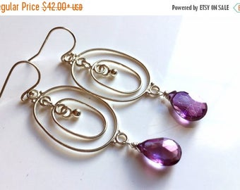 QUICKIE SALE 15% OFF, Mystic Violet Quartz Festivale Chandeliers, gemstone hoop chandelier earrings, purple gemstone earrings, gift idea