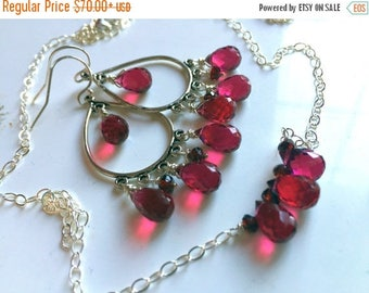 XMAS IN JULY 20% off, Christmas Necklace and Earring Set,  Christmas Gift, Chandelier Earrings Necklace, Special Pricing, Style: Ruby Slippe