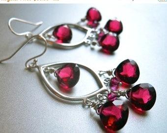 XMAS IN JULY 20% off, Christmas Chandelier Earrings. Red Chandelier Earrings, style: Miss Scarlett, Ruby Red, Sterling  earrings, leverback