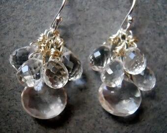 20% off FLASH SALE, Icicle Earrings, clear earrings, sparkly earrings, teardrop earrings, clear faceted earrings, gemstone earrings