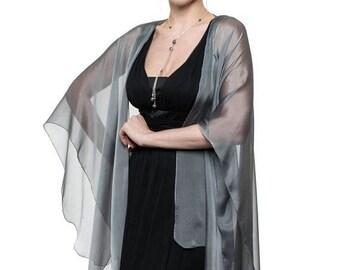 Promo Sale: Silver Grey Sheer Silk Cardigan Cape OLIVIA