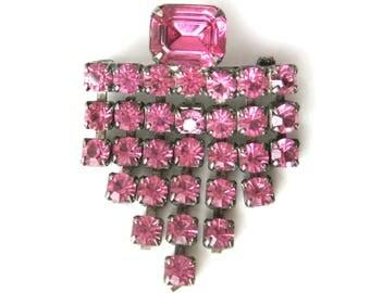 Vintage 50s 60s Sparkling PINK Rhinestone Waterfall Brooch Pin / Valentine Gift