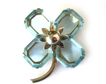 Vintage Art Deco Sterling Silver Flower Brooch / Prong Set Emerald Cut Crystal / Blue Topaz Cut Glass / Gift for Her / Fine Costume Jewelry