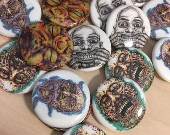 Zombie Pin Back Buttons 1 inch