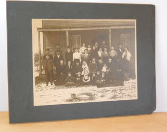 Vintage Instant Ancestor Group Photo • 1800s Large Family Photo Matted Fenton Michigan