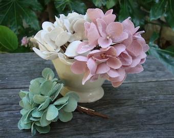 burlap flower mini bouquets hydrangeas corsage with clips shabby chic wedding crafts supplies garden wedding fabric flowers ivory green pink
