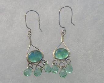 ON SALE Pretty Sterling Silver Aquamarine Cabocbon & Briolette Drop Earrings