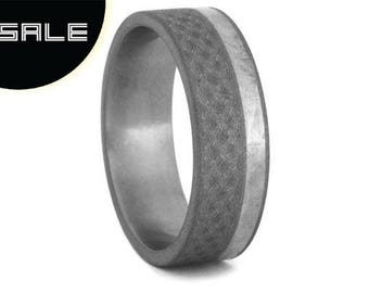 SALE - Sandblasted Celtic Ring, Christian Jewelry Made With Titanium, Meteorite Wedding Band For Men or Women, Engraved Jewelry