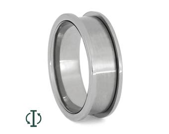 Interchangeable Ring Core, Adjustable Titanium Ring For Men or Women, Handmade Wedding Band With Unique Inlays