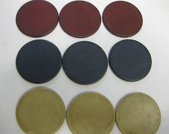 Vintage Flat Clay Poker Chip Tan Lot of 63 Red Blue Tan Altered Art Supply Collectible