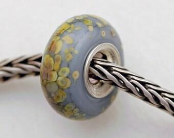 Unique Gray Speckled Raku Bead  - Artisan Glass Bracelet Bead - (JUL-57)