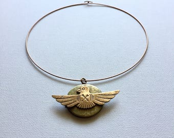 Vintage Brass Locket. Thunderbird Protection Amulet. Arrow Shield Choker