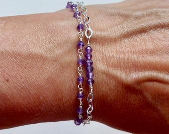 Double Strand Amethyst Tassel Bracelet, Sterling SIlver Amethyst Gemstone Tassel Bracelet - Purple Tassel Bracelet