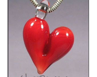 Red Glass Heart Pendant - Boro Lampwork Glass Jewelry