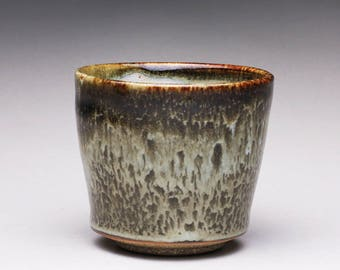 handmade pottery cup, ceramic teacup, yunomi with black tenmoku and white glazes