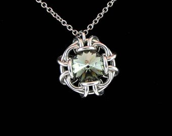 Black Ice Swarovski Crystal Pendant Necklace