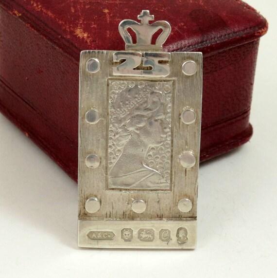 Vintage 1977 Queen Elizabeth II Silver Jubilee Ingot Pendant by Addis & Co