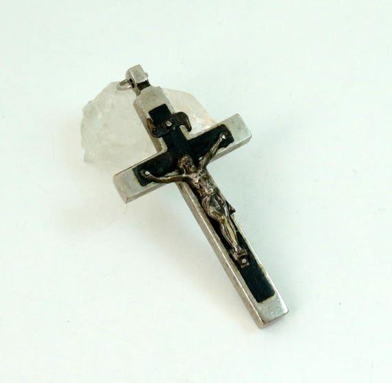 Antique Ebony Inlaid INRI Crucifix Cross Pendant