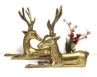 Elegant Brass Reindeer Figures/ Vintage Holiday Woodland Deer Decor/ set of 2