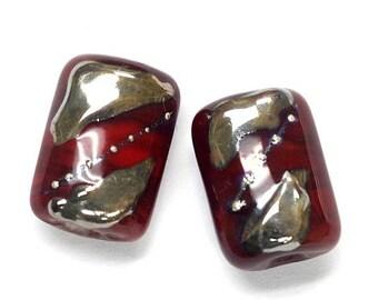 ON SALE 30% off Glass Lampwork Bead Sets - Six Regal Red Mini Kaleras Beads 10704203