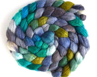 Blueface Leicester/ Tussah Silk Roving (Top) - Handpainted Spinning or Felting Fiber, Touch of Green