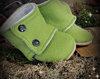 Lime Green Wool Soft Sole Boots