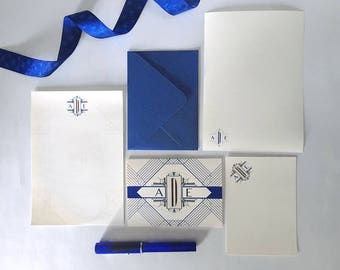 Personalized Monogram Stationery Set - Art Deco - Letter Writing - Note Cards - CHOOSE YOUR COLOR