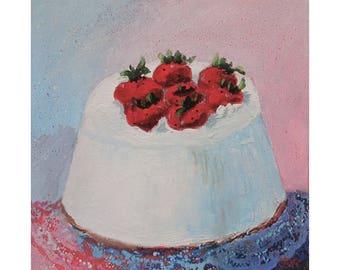 Original Painting On Canvas * Strawberry Cake * Dessert Art * Food Art * Wall Hanging