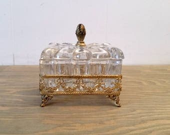 Vintage Apollo Studios Ormolu Jewelry Box or Trinket Box with Heisey Glass