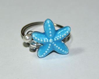 Aqua Starfish ring size 8, beach jewelry, pearl, silver, wire wrapped, something blue, starfish, boho, gypsy, costume, seashell jewelry