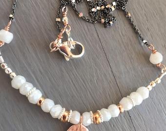 Gemstone Bar Necklace Rose Gold Vermeil and White Mystic Quartz
