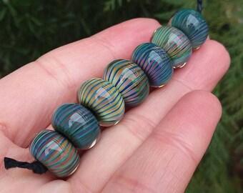 Striped Rondelles lampwork Glass Beads Set