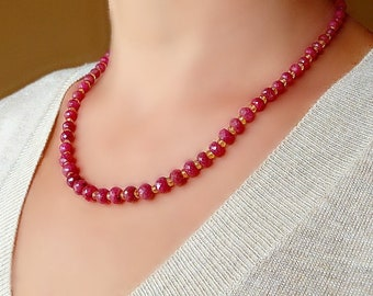 Ruby and Citrine Necklace. Natural Ruby necklace. Ruby jewelry. Ruby Citrine earrings.
