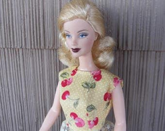 Handmade Basic Barbie Doll Clothes Summer Blouse and Skirt in Cherry Spring and Shorts in Red Corduroy