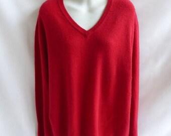 100% Cashmere Sweater Size L Red Boyfriend V Neck Club Room 50 Chest Tunic