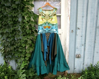Upcycled Bohemian Gypsy Maxi Dress// Peacock Teal// Large XL// emmevielle