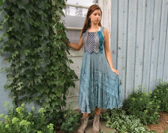 Robins Egg Blue Teal Upcycled Necktie Dress// Medium Large// emmevielle