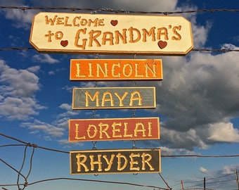 WELCOME GRANDMA GRAMMY  carved wood sign(38 dollars)   Optional GrandKid names are extra-6 dollars each